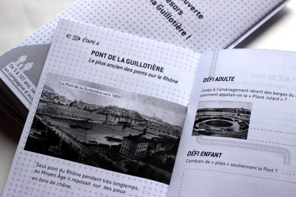 Conception du jeu de piste À la découverte des trésors de la Guillotière ! Lyon, graphisme