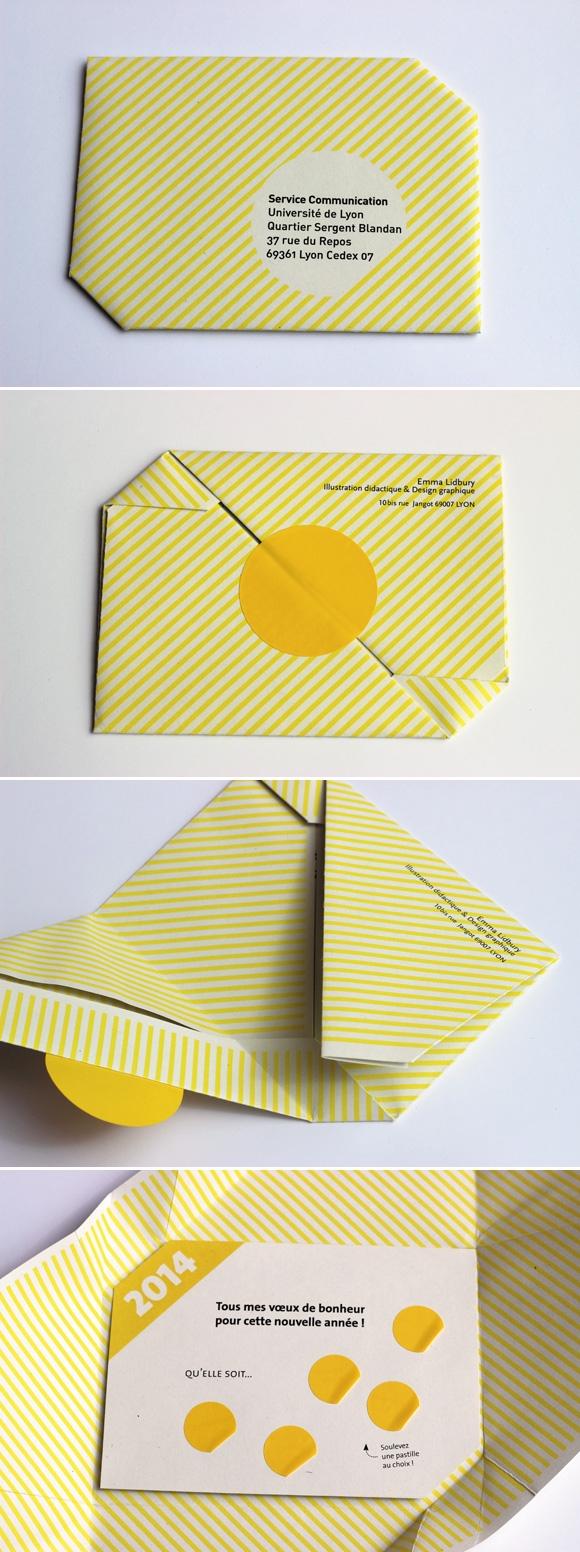 Création de la carte de voeux 2014, enveloppe origami et pastille à soulever, graphisme ludique, Lyon