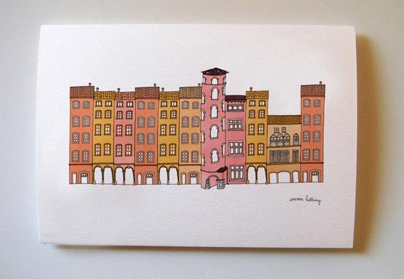 carte illustration du vieux Lyon, Illustration Emma Lidbury