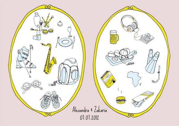 Faire-part de mariage illustration Lyon