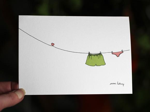 Carte illustrée du fil à linge amoureux, Illustration Emma Lidbury