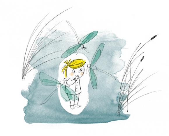 Illustration du petit Thomas au milieu d'un marais