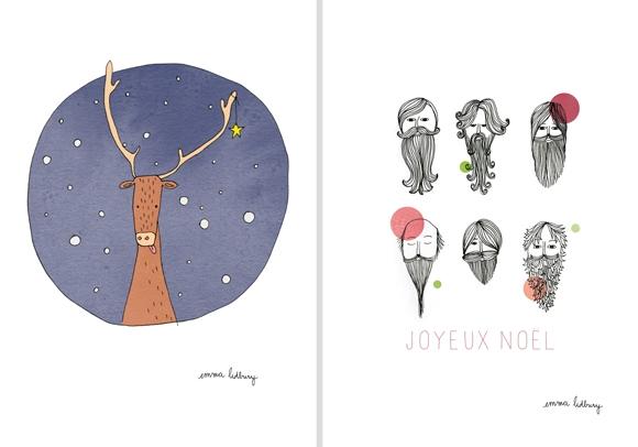 Illustration de carte de noël par Emma Lidbury, graphiste illustratrice à Lyon