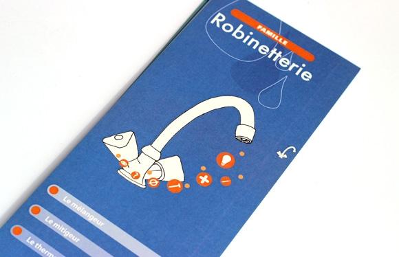 Création du guide Être incollable sur le rayon sanitaire pour Leroy merlin, collaboration Sefco-formation, graphisme, Lyon