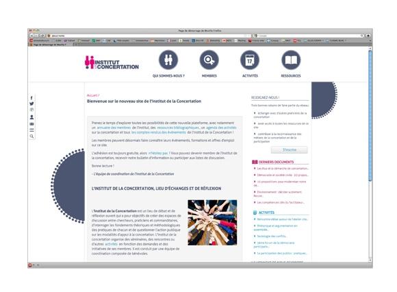 site internet et charte graphique de l'Institut de la concertation, logotype et pictogramme, graphisme, Lyon