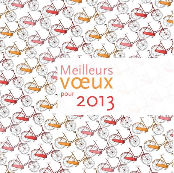 Création de la carte de voeux 2013, motif vélo, graphisme, Lyon