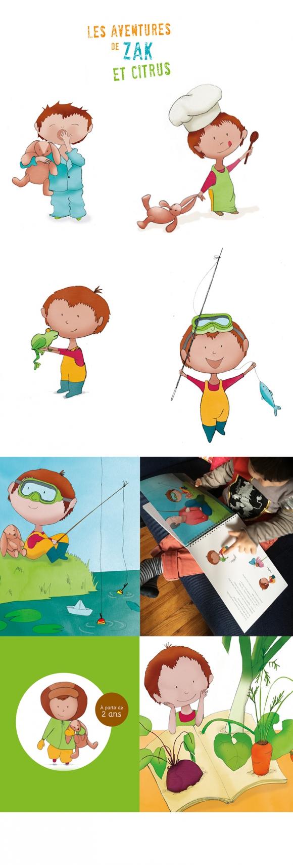 Illustration du livre Zak et Citrus pour l'association Sens et Savoirs. Sensibilisation à l'alimentation chez les 0-6 ans.